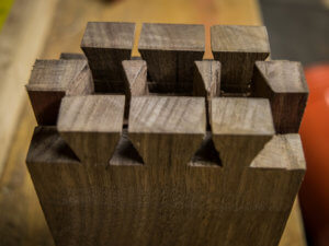 Riven american black walnut dovetails cut precisely with the Dozuki Z saw.